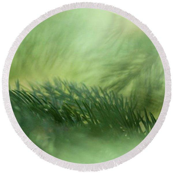 Evergreen Mist Round Beach Towel