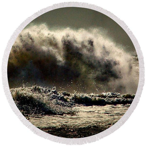 Explosion In The Ocean Round Beach Towel