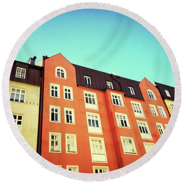 Facades Of Colorful Buildings In Stockholm Round Beach Towel