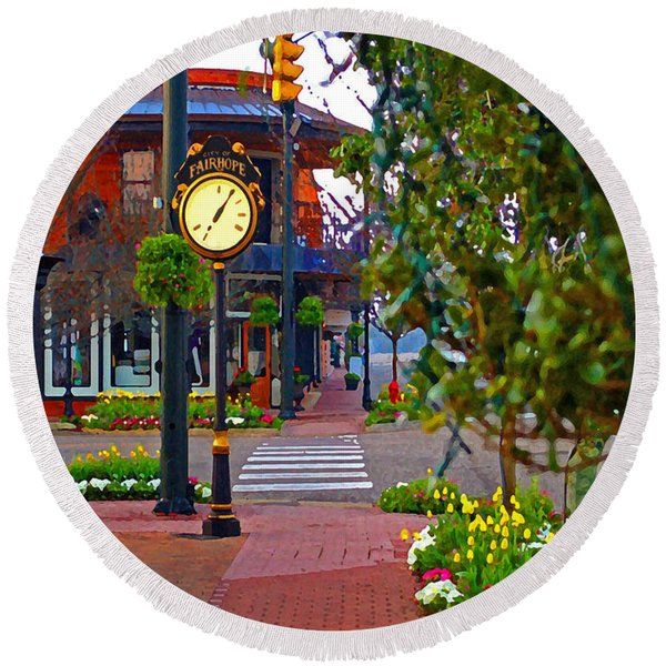 Fairhope Ave With Clock Down Section Street Round Beach Towel