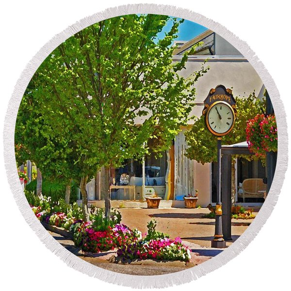 Fairhope Ave With Clock Looking North Up Section Street Round Beach Towel