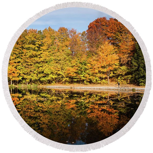 Fall Ontario Forest Reflecting In Pond  Round Beach Towel