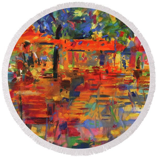 Falling Leaves, Paris Round Beach Towel