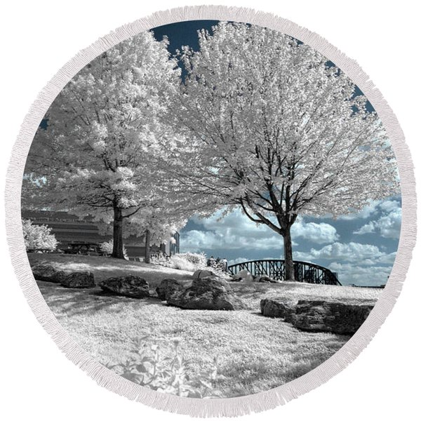 Falls Of The Ohio State Park Round Beach Towel