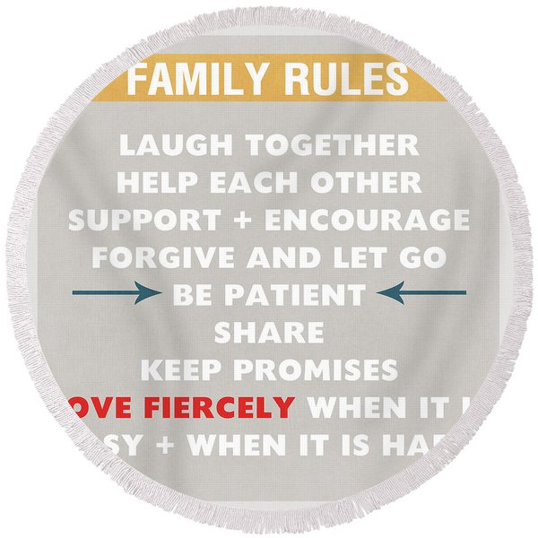 Family Rules Round Beach Towel