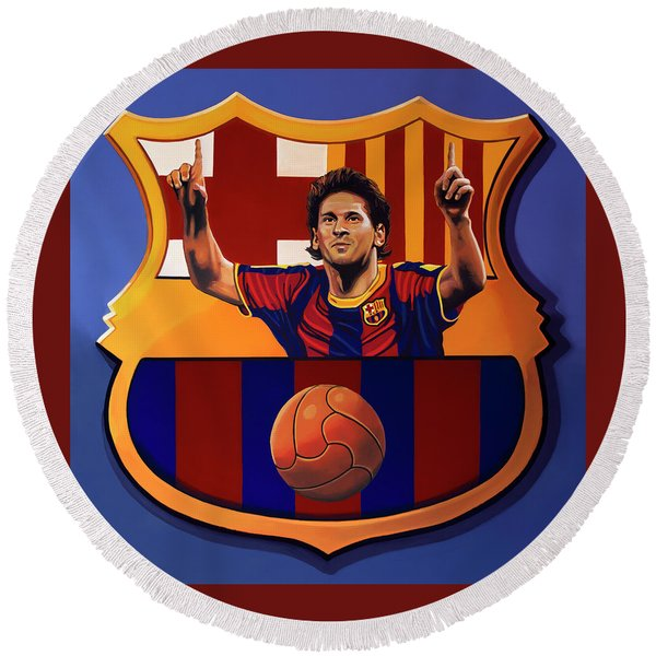 Fc Barcelona Painting Round Beach Towel