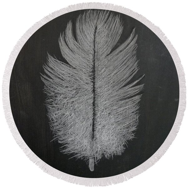Feather 1 Round Beach Towel