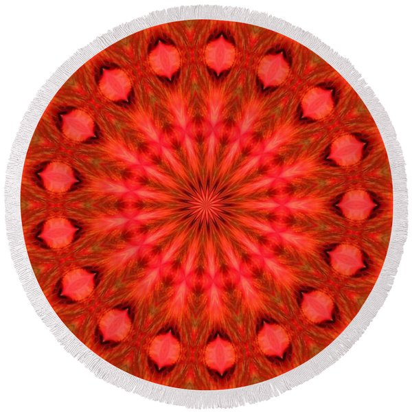 Feathered Rouge Round Beach Towel