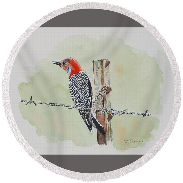 Fence Sitting Round Beach Towel