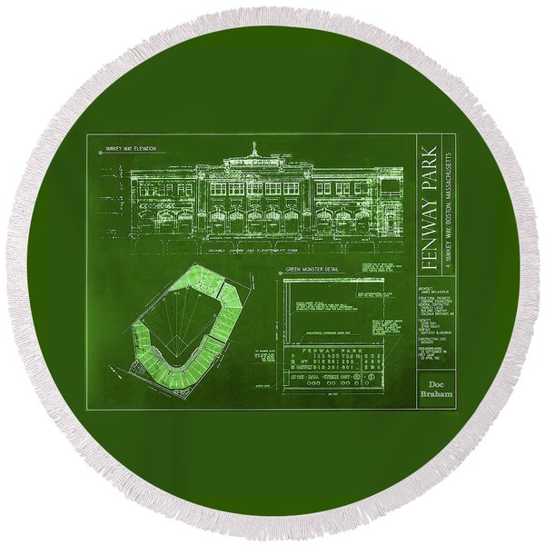 Fenway Park Blueprints Home Of Baseball Team Boston Red Sox Round Beach Towel