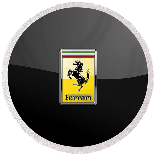 Ferrari 3d Badge- Hood Ornament On Black Round Beach Towel