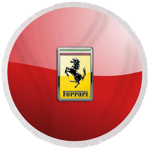 Ferrari 3d Badge-hood Ornament On Red Round Beach Towel