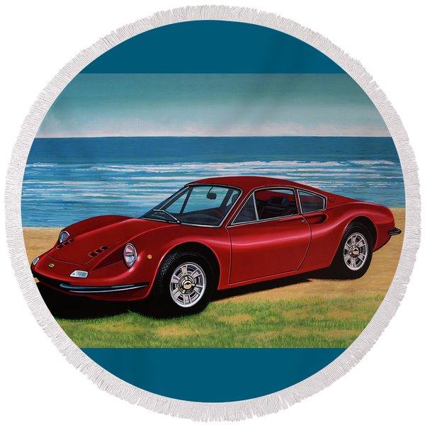 Ferrari Dino 246 Gt 1969 Painting Round Beach Towel