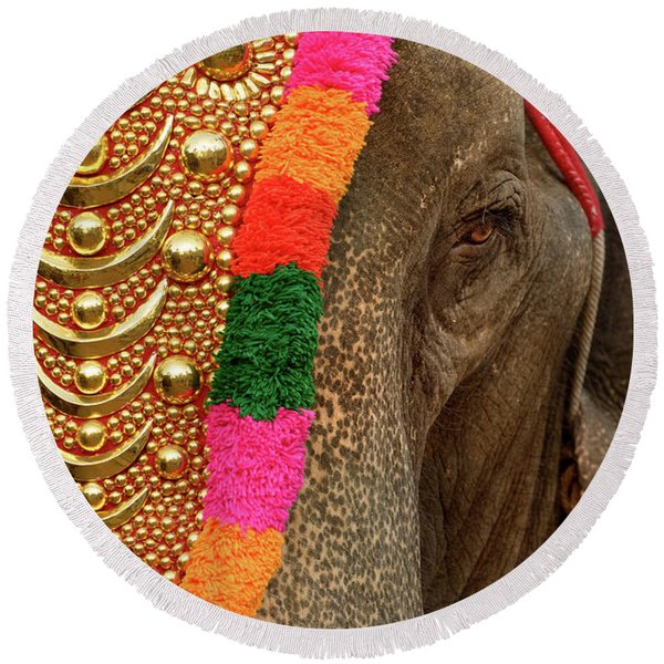 Festival Elephant Round Beach Towel