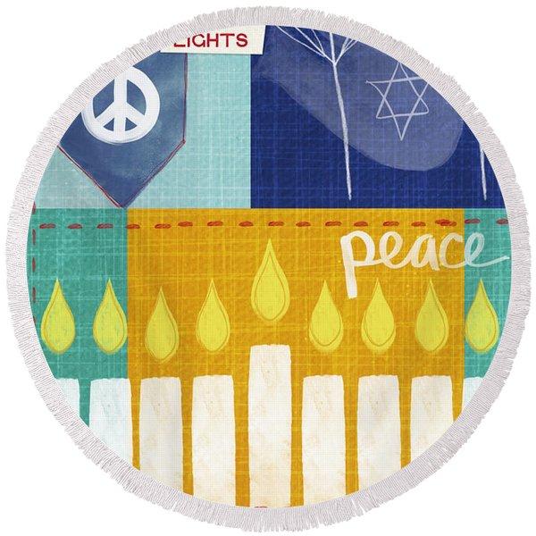 Festival Of Lights- Hanukkah Art By Linda Woods Round Beach Towel