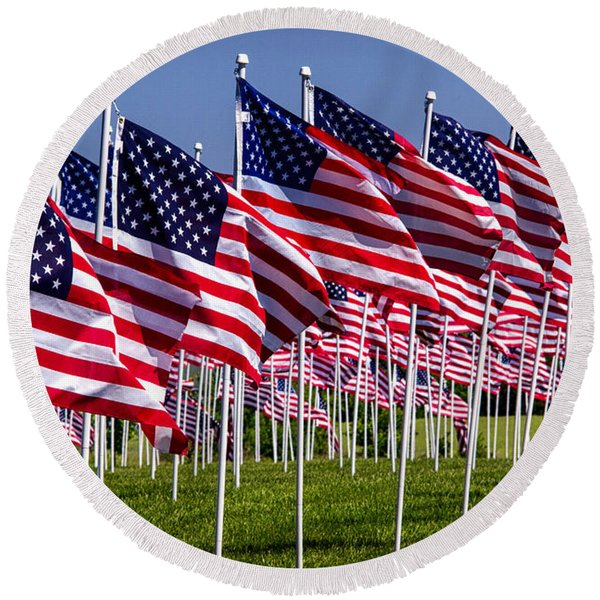 Field Of Flags For Heroes Round Beach Towel