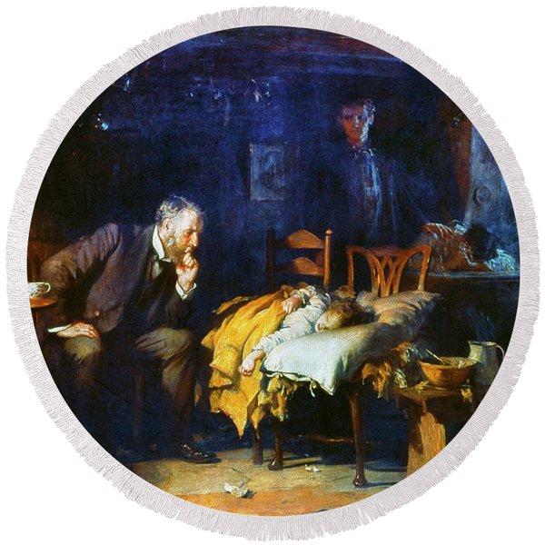 Fildes The Doctor 1891 Round Beach Towel