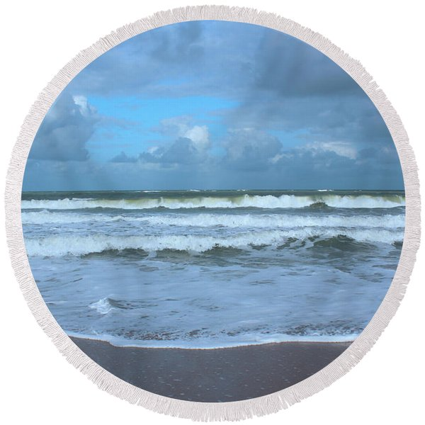 Round Beach Towel featuring the digital art Find Your Beach by Megan Dirsa-DuBois