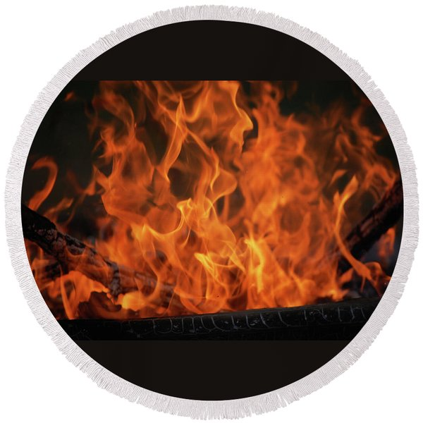 Fire Round Beach Towel