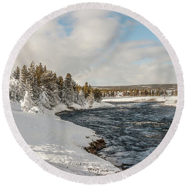 Firehole River On A Winter Day Round Beach Towel