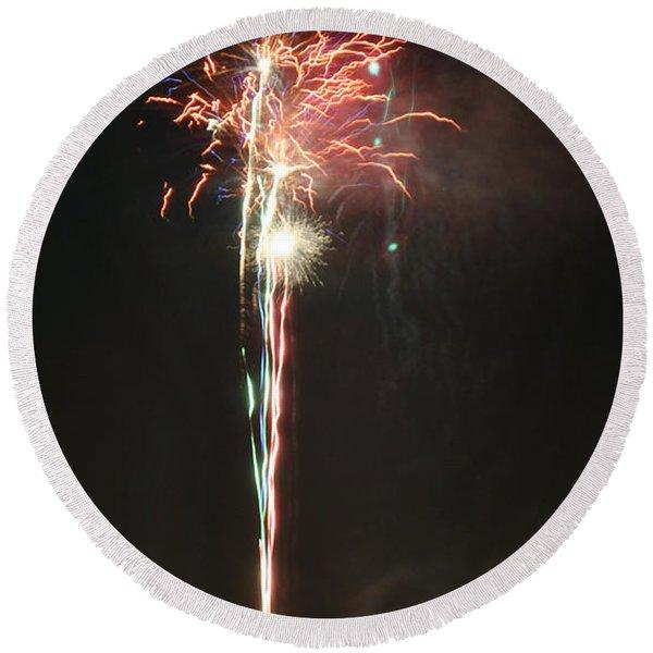 Fireworks On The Lake Round Beach Towel