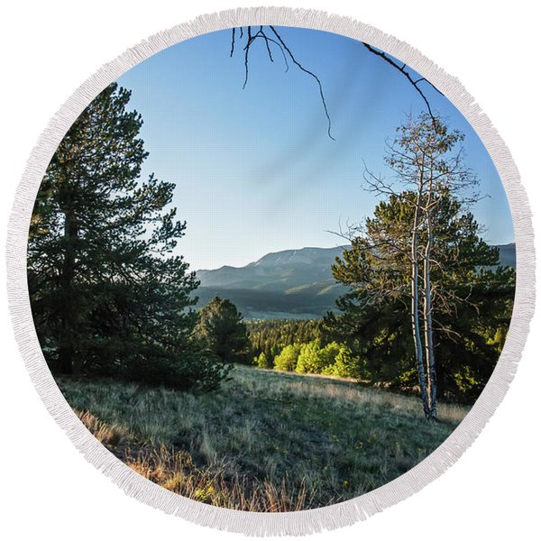 Round Beach Towel featuring the photograph First Light At Mueller State Park by Lon Dittrick