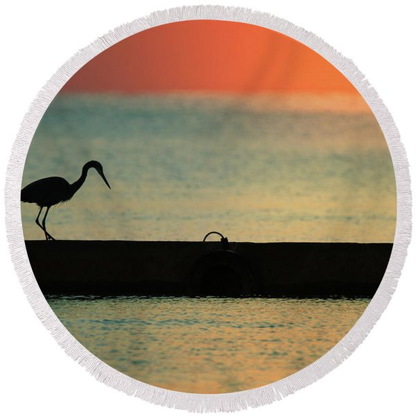 First On The Jetty Round Beach Towel