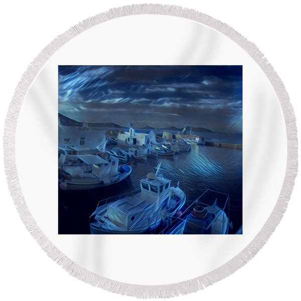 Round Beach Towel featuring the photograph Fish Harbour Paros Island Greece by Colette V Hera Guggenheim