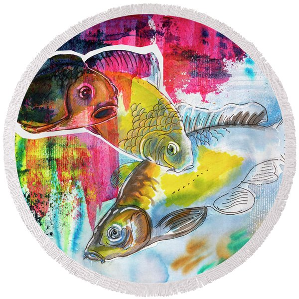 Round Beach Towel featuring the painting Fishes In Water, Original Painting by Ariadna De Raadt