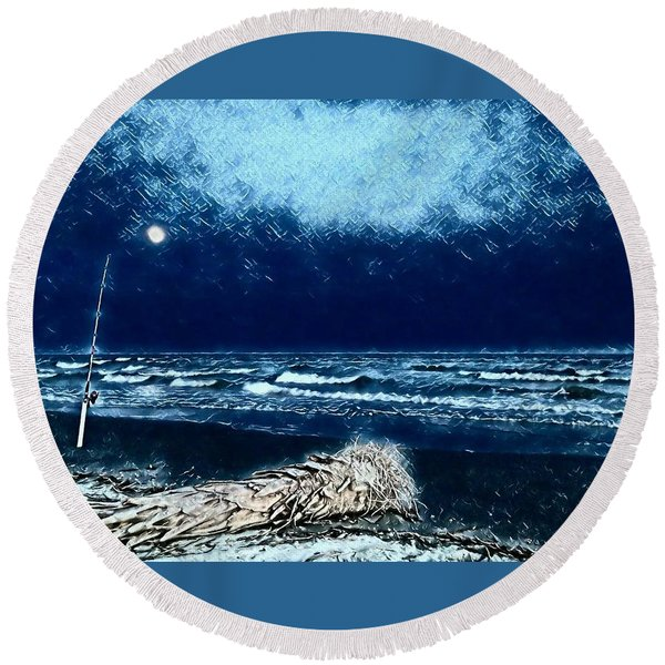Fishing For The Moon Round Beach Towel