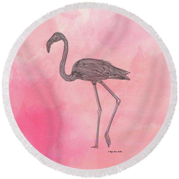 Round Beach Towel featuring the digital art Flamingo3 by Megan Dirsa-DuBois