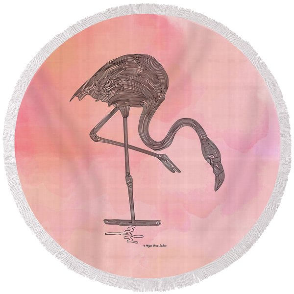 Round Beach Towel featuring the digital art Flamingo4 by Megan Dirsa-DuBois