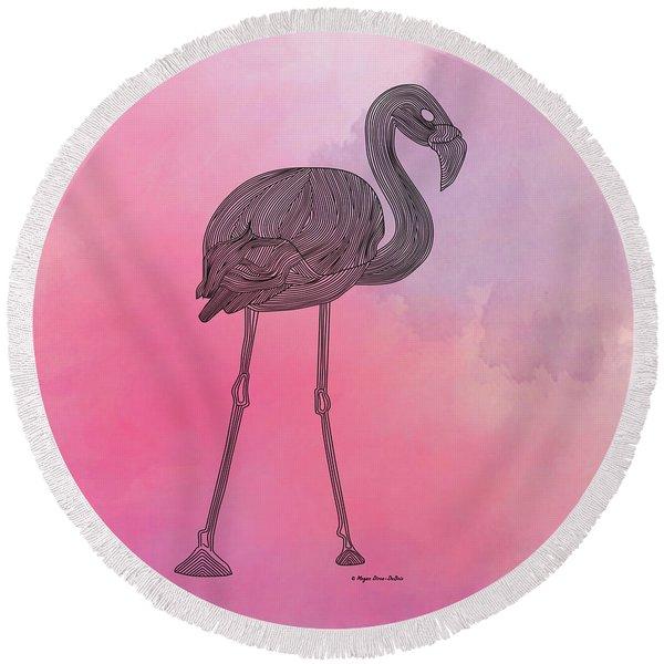 Round Beach Towel featuring the digital art Flamingo5 by Megan Dirsa-DuBois