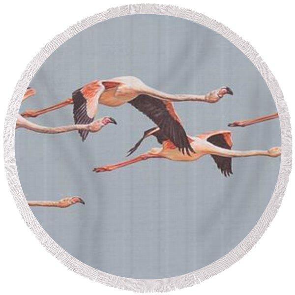 Flamingos In Flight Round Beach Towel