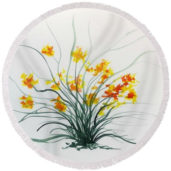 Floral 2 Round Beach Towel