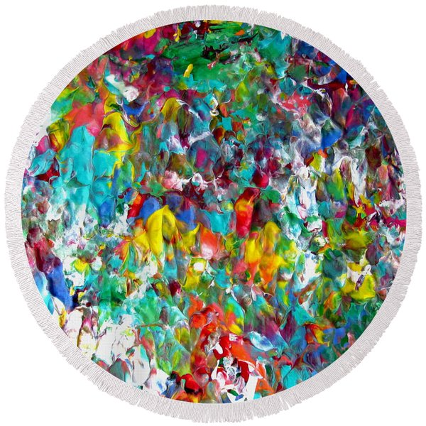 Floral Abstract 0715 Round Beach Towel