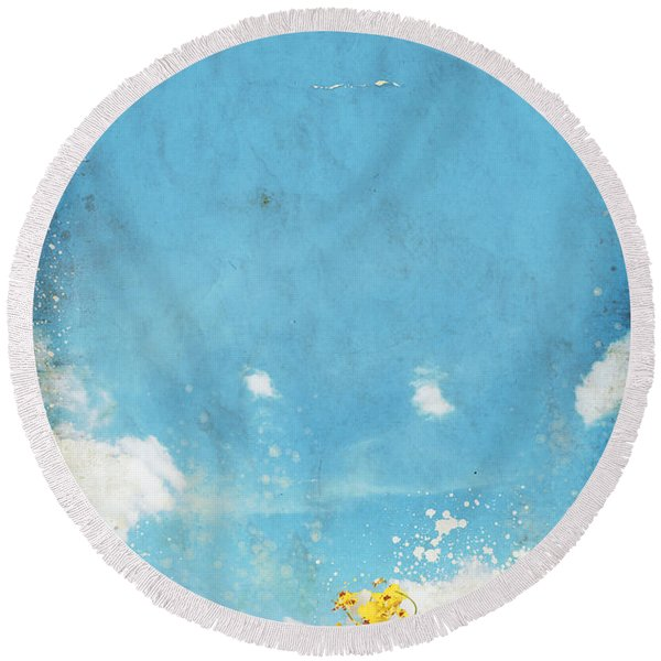 Floral In Blue Sky And Cloud Round Beach Towel