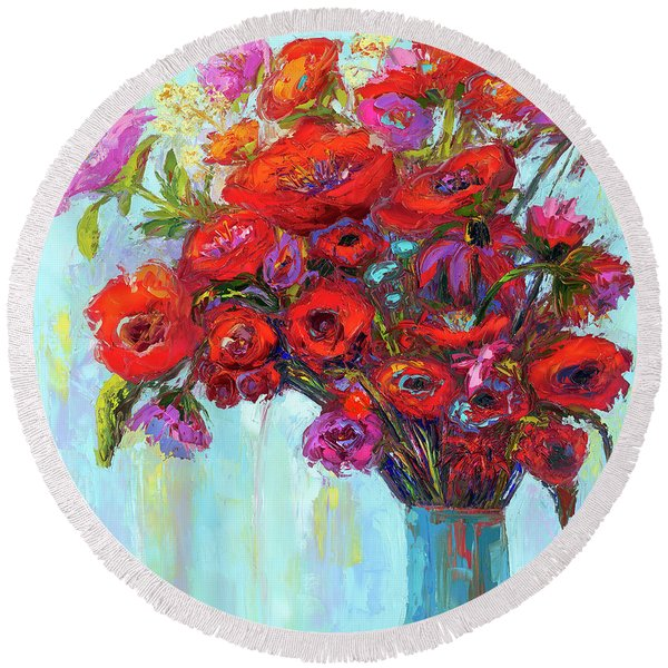 Red Poppies In A Vase, Summer Floral Bouquet, Impressionistic Art Round Beach Towel