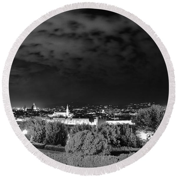 Florence From Above Round Beach Towel