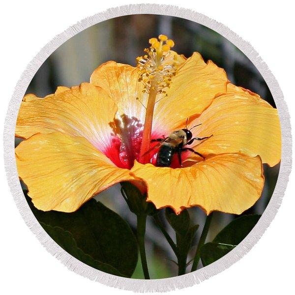 Flower Bee Round Beach Towel