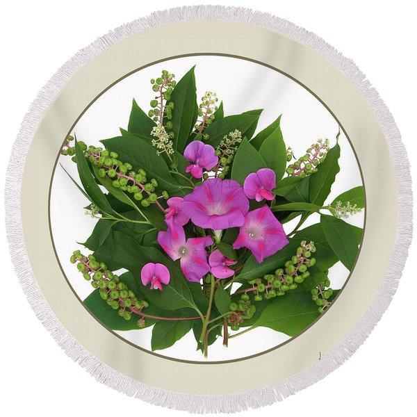 Flower Bouquet And Leaf Series Button Round Beach Towel
