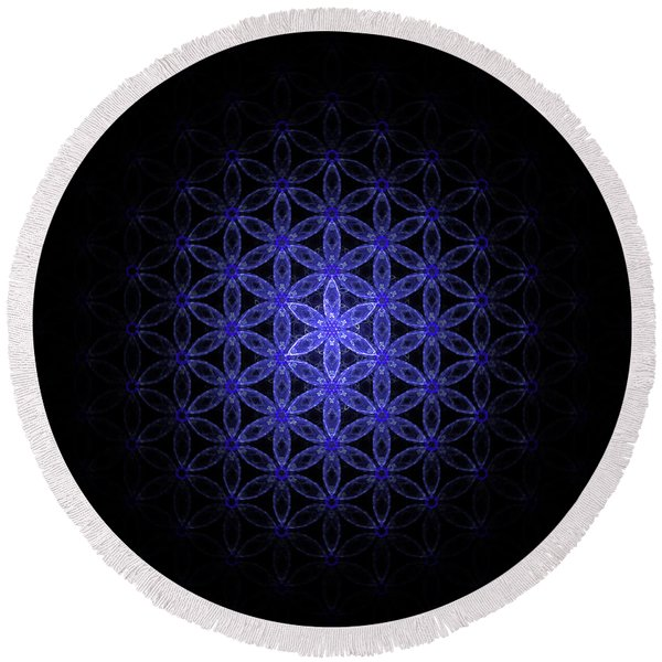 Flower Of Life In Blue Round Beach Towel