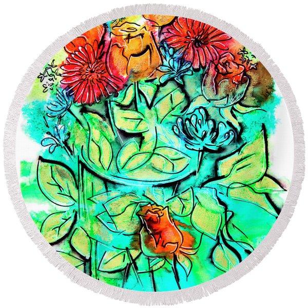 Flowers Bouquet, Illustration Round Beach Towel