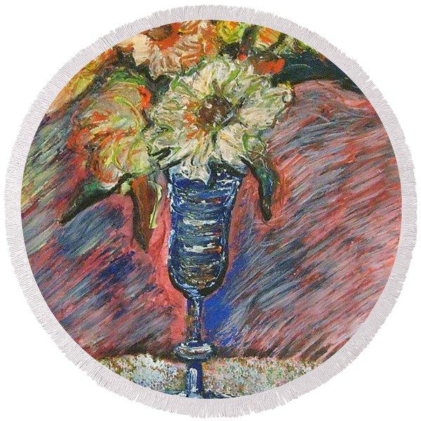 Flowers In Wine Glass Round Beach Towel