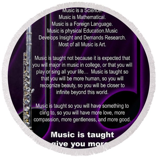 Flute Why Music Photographs Or Pictures For T-shirts 4824.02 Round Beach Towel