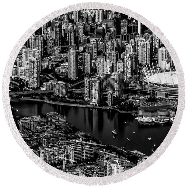 Round Beach Towel featuring the photograph Fly Over Vancouver Bandw by Michael Hope