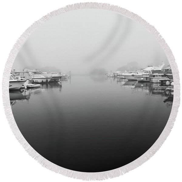 Foggy Day Banagher Round Beach Towel