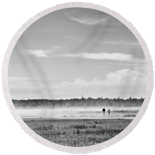 Foggy Day On A Marsh Round Beach Towel