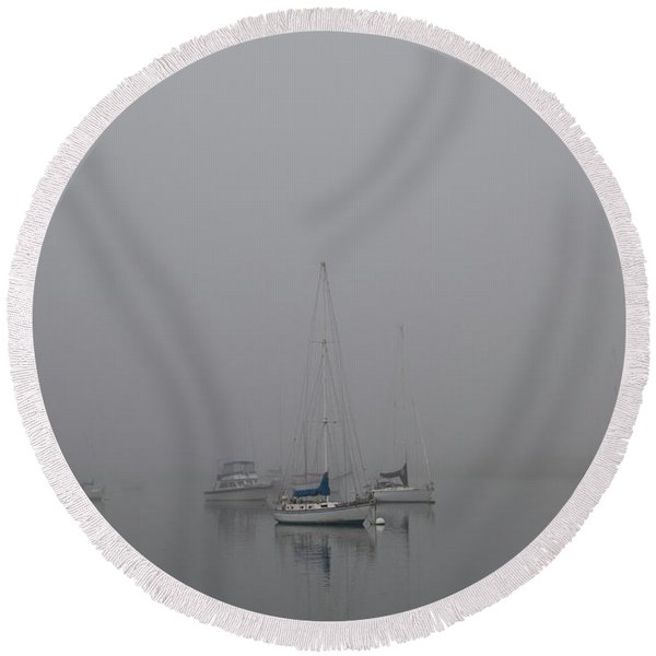 Waiting Out The Fog Round Beach Towel