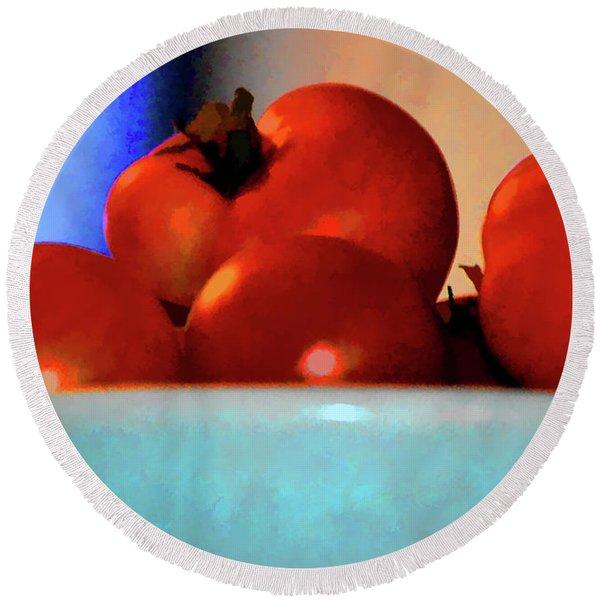 Food Vine Ripe And Ready Tomato Art Round Beach Towel